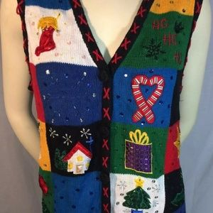 Ugly Christmas Sweater Vest Ladies Large